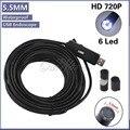 Impermeable Del Endoscopio Del USB 10 M Cable de Inspección de Animascopio 6LED Dia 5.5mm Alambre de La Cámara Con Mini Cámara Espejo Gancho Imán