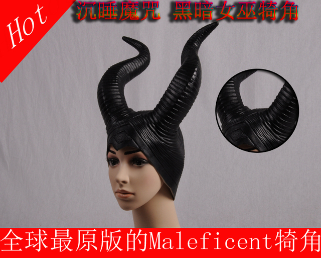 Exclusive New 2 generation Versionsleeping curse the darkness witch Maleficent cosplay props hat helmet horns