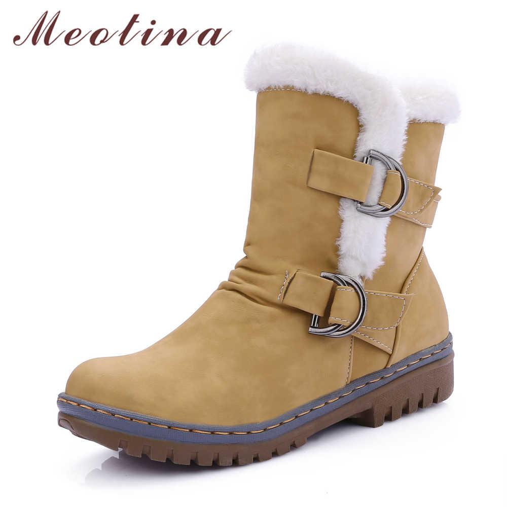 Meotina Kış Kar Botları Kadın Kürk Sıcak yarım çizmeler Toka Orta Kare Topuk kısa çizmeler Yuvarlak Ayak Bayanlar Ayakkabı Sarı Boyutu 34 -46