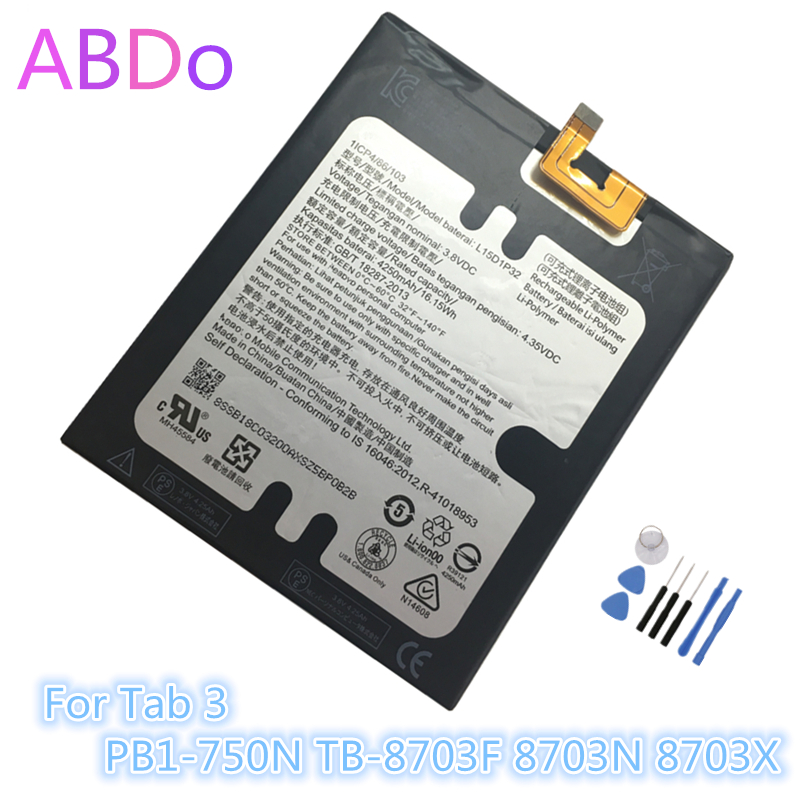US $13 7 |L15D1P32 Tablet Battery For Lenovo Tab 3 PB1 750N TB 8703F 8703N  8703X 4250mAh Replacement Batteries AAA Quality-in Mobile Phone Batteries