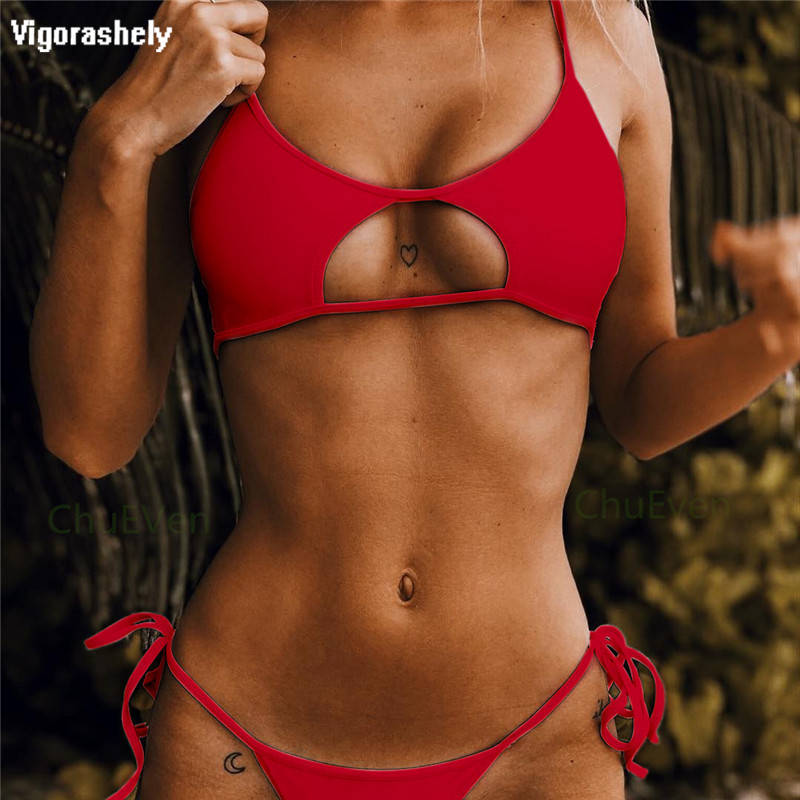 Hollowed Red Sexy Bikini Set Women String Swimsuit Push Up Swimwear 2018 Bandage Thong Brazilian Bikini Bathing Suit Swim Wear