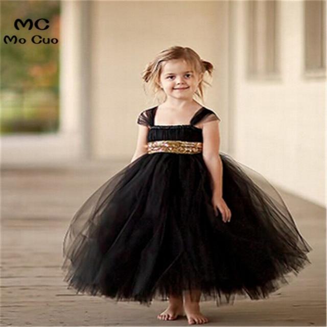 b5238a02879 2018 fashion Gold Sequin Black Flower Girl Dresses Baby Girl Tutu Dress Bow  Ball Gown Vestido de Daminha Communion Dresses