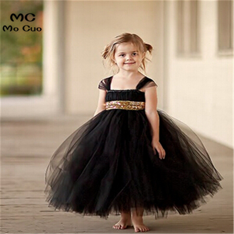 2018 fashion Gold Sequin Black   Flower     Girl     Dresses   Baby   Girl   Tutu   Dress   Bow Ball Gown Vestido de Daminha Communion   Dresses