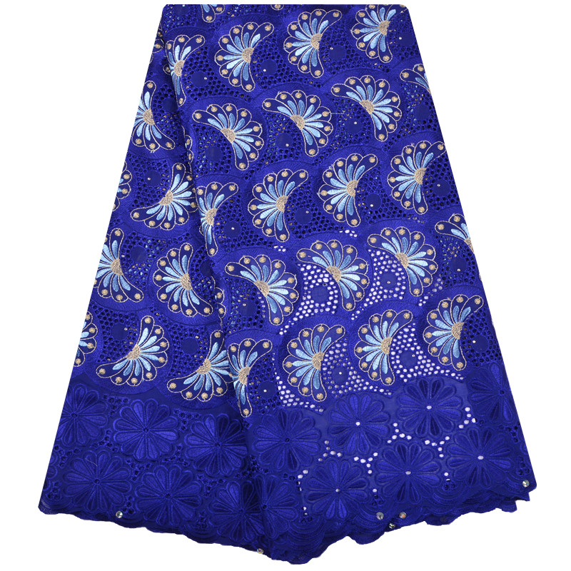 2018 Blue Color Latest African Cotton Swiss Voile Lace Fabric High Quality African Swiss Voile Lace In Switzerland F1296-in Lace from Home & Garden    1