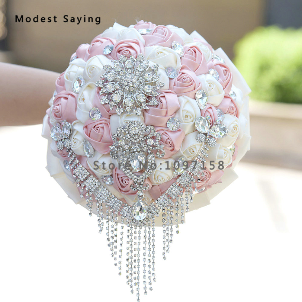 Luxury Artificial Flowers Sparkly Wedding Bouquets 2017 With