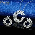 Romantic Big Leaf Flower Crystal Stone Necklace And Earrings Elegant Women Wedding Party Jewelry Sets For Christmas Gift J177