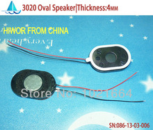 (24pcs/lot)(Acoustic Speaker) 2030 3020 Oval Tablet Phone MP3 Speaker,1W 8 Ohms,L30MMxW20MM,thickness:4MM,With Wires