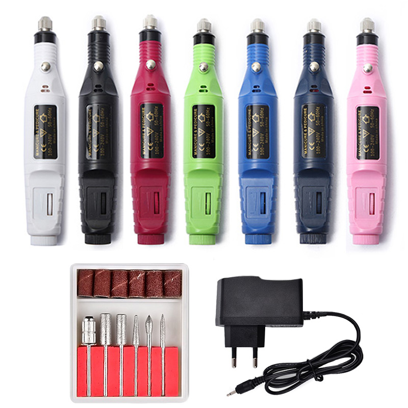 1 Unidades eléctrico profesional Kit de uñas manicura máquina eléctrica uñas arte pluma pedicura 6 Bits uñas herramientas molino kit nuevo