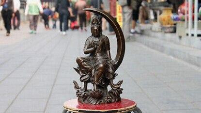 Chinese Pure Bronze lotus flower Water and Moon Kuan-Yin Bodhisattva goddess