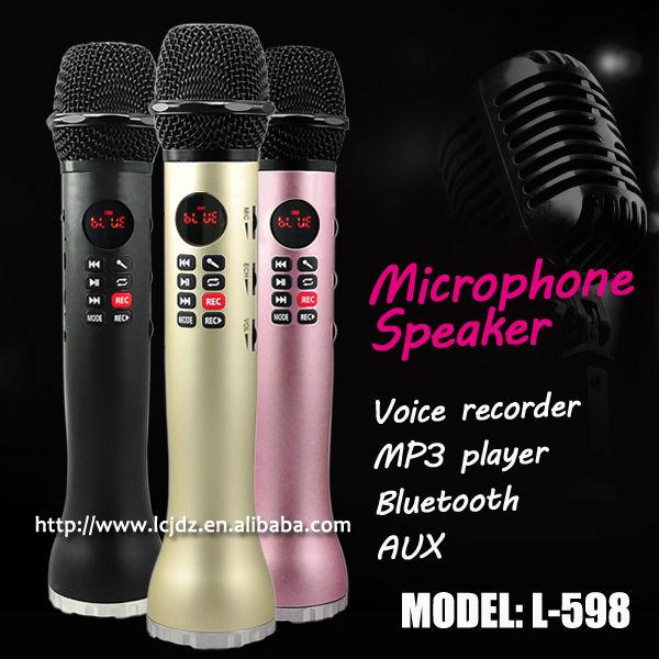 Prix pour L-598 mini portable de poche mobile téléphone Karaoké amplificateur bluetooth sans fil microphone haut-parleur enregistreur vocal soutien TF carte