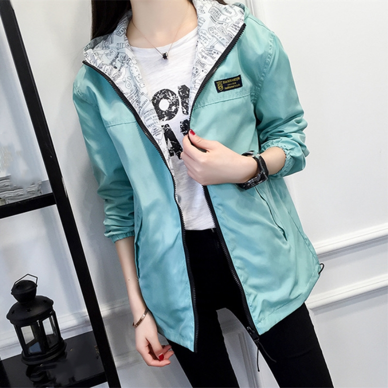 Spring Autumn Women Bomber   Basic     Jacket   Fashion Double Side Wear Outwear Long Sleeve Casual Female Coats
