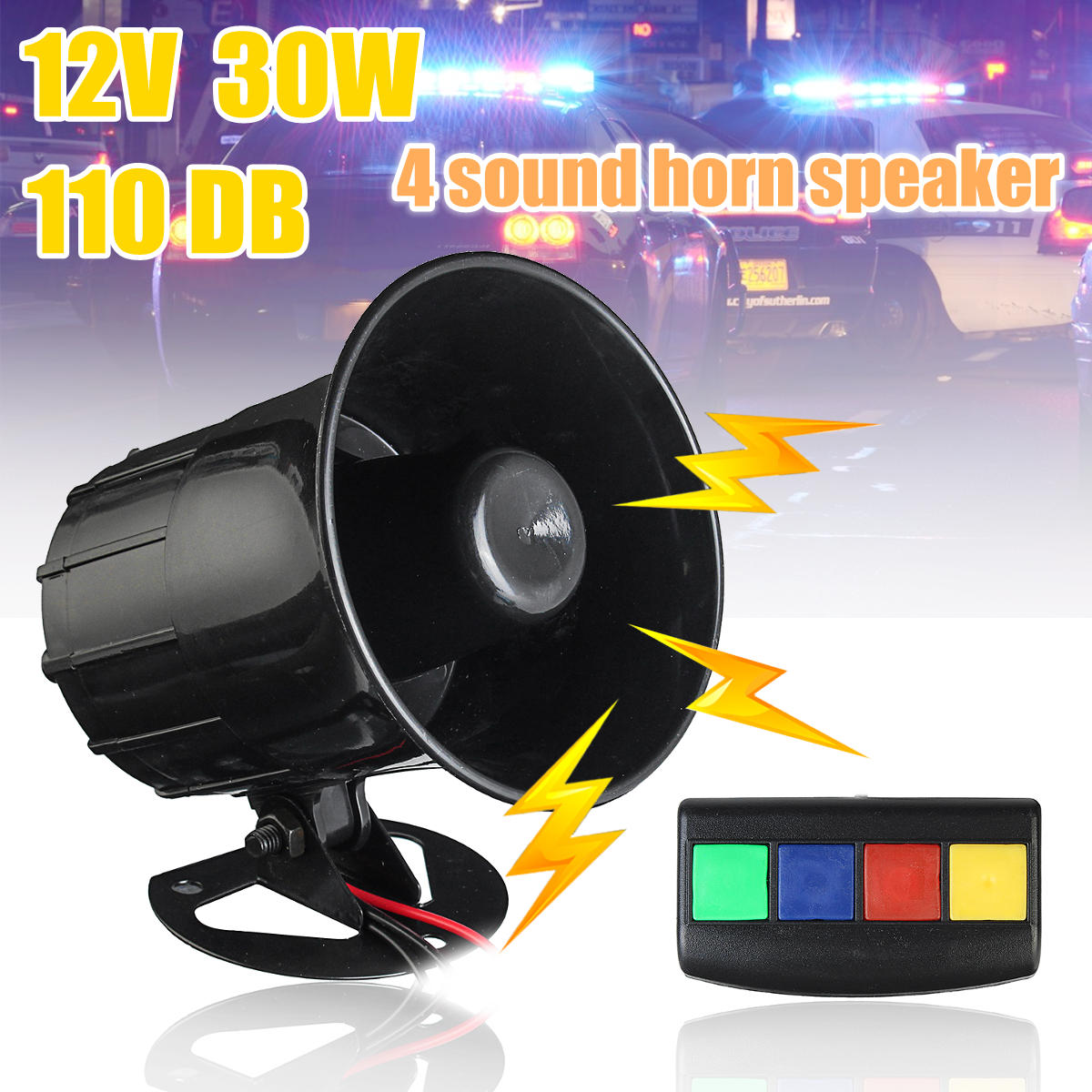 4 Sound Loud Tone 12V 30W 110dB Car Motorcycle Warning Alarm For Fire Horn Speaker System
