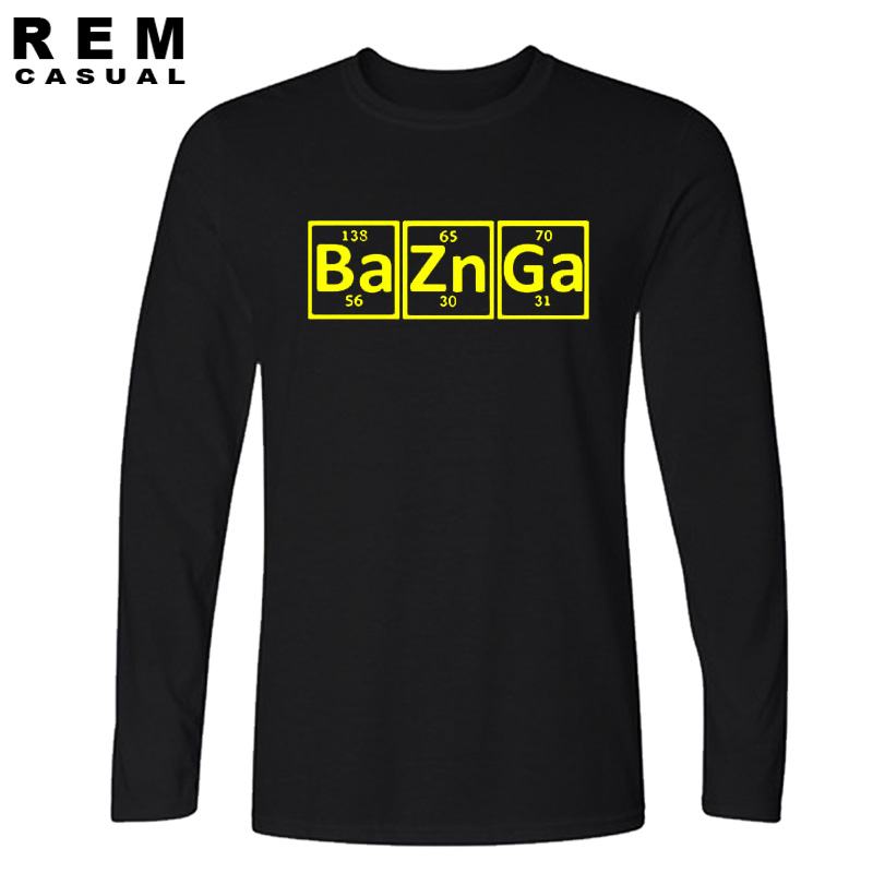 8d5974eee2 Casual New Cotton Men T Shirt Bazinga Periodic Table The Big Bang Theory  Sheldon Cooper Long