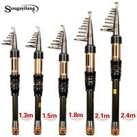 Sougayilang New Spinning Telescopic Fishing Pole 1 3 1 8m Portable Carbon Fiber Fishing Rod Mini