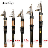 Sougayilang New Spinning Telescopic Fishing Pole 1 3 1 8m Portable Carbon Fiber Fishing Rod Mini