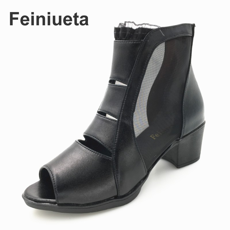 Feiniueta leather women's shoes thick with sneakers lace hollow mesh boots with summer new fish head sandals large size first line therapy in multiple myeloma