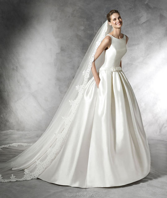 2016 Simple Ball Gown Satin Wedding Dresses With Bow Bridal