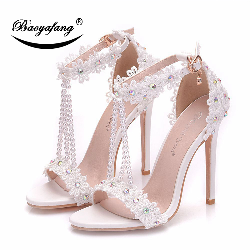 BaoYaFang New Summer Sandals Sweet Ankle strap White Lace Flower shoe 9cm Heel Pointed Toe Wedding