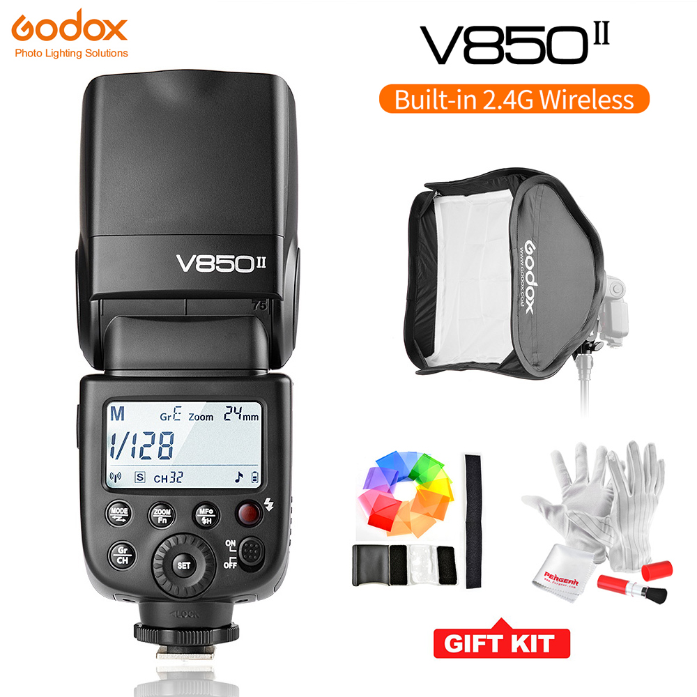 Godox V850II GN60 2.4g Wireless X Système Speedlite w/2000 mah Batterie Flash Lumière pour Canon Nikon DSLR caméras Softbox Filtre Kit