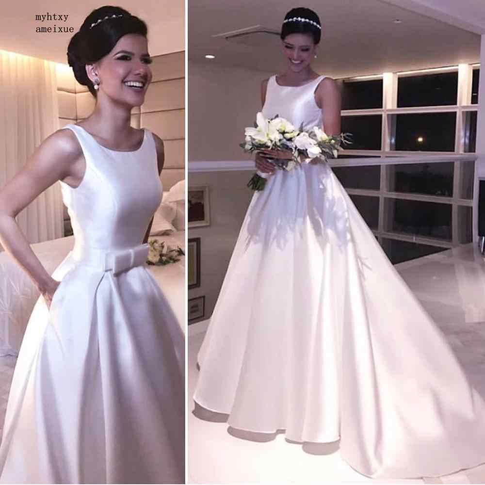 Simples Branco Vestidos de Casamento 2019 A Linha de Mangas de Cetim Barato Encantador Vestido de Noiva Barato Vestido De Casamento Custom Made