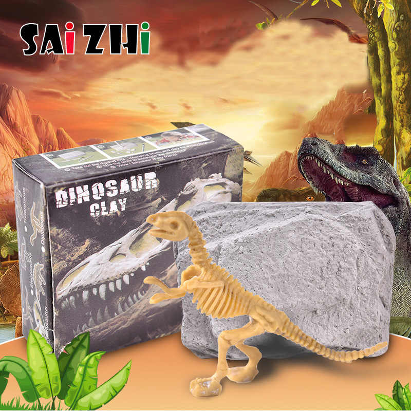 Saizhi Classic Children History Educational Small Dinosaur Fossil Excavation Toy Kits Environmentally Friendly Materials SZ3400