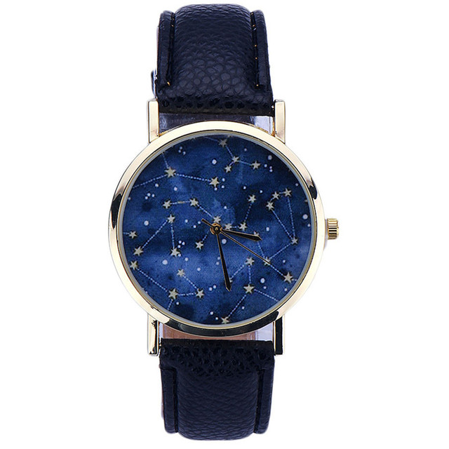 Fashion Sky Stars Night Pattern Watch Women PU Leather Analog Quartz Watch Wrist