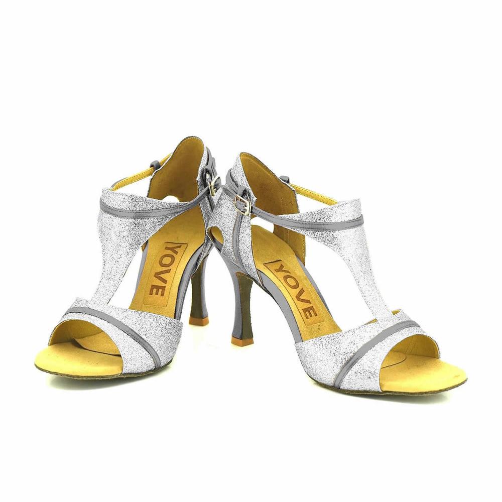 ФОТО YOVE Customizable Dance Shoe Sequined Cloth Women's Latin/ Salsa Dance Shoes 3.5