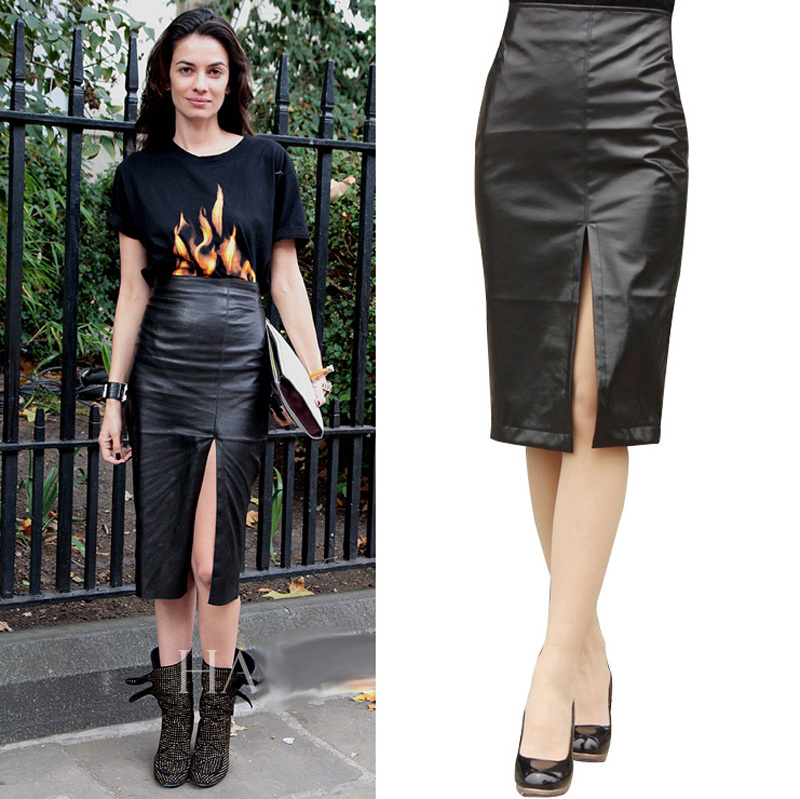 Popular Women Skirt Leather Black Long-Buy Cheap Women Skirt ...
