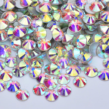 JUNAO SS 6 8 10 12 20 30 Crystal AB Glass Rhinestones Nail Art Stones Flat Back Round Crystal Glue On Scrapbook Beads for Crafts