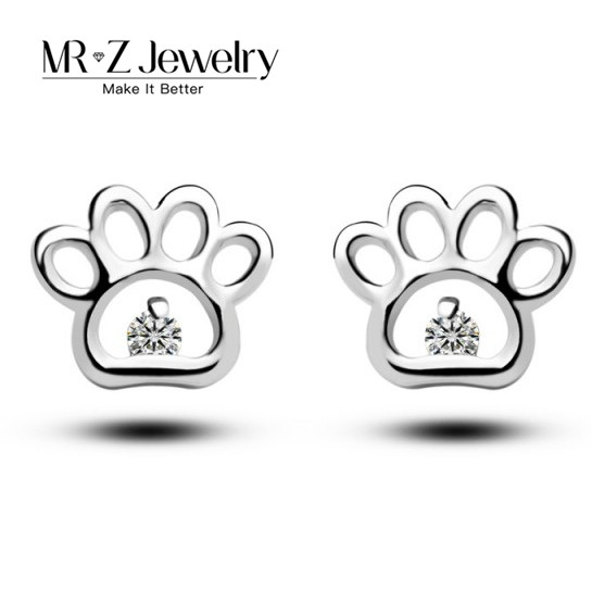2018 Cute Cat Dog Paw Prints Simple Zircon Stud Earrings For Women Fashion Pet Animal Jewelry Supplier (Support Drop Shipping)