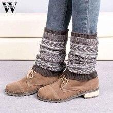 Потрясающие женские вязаные зимние гетры; зимние носки; 6 цветов; модная зимняя теплая Женская мода