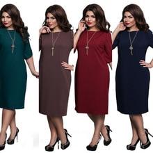 L-6XL Large Size 2019 Summer Dress Big Printed Blue Red Green Straight Dresses Plus Women Clothing Vestidos