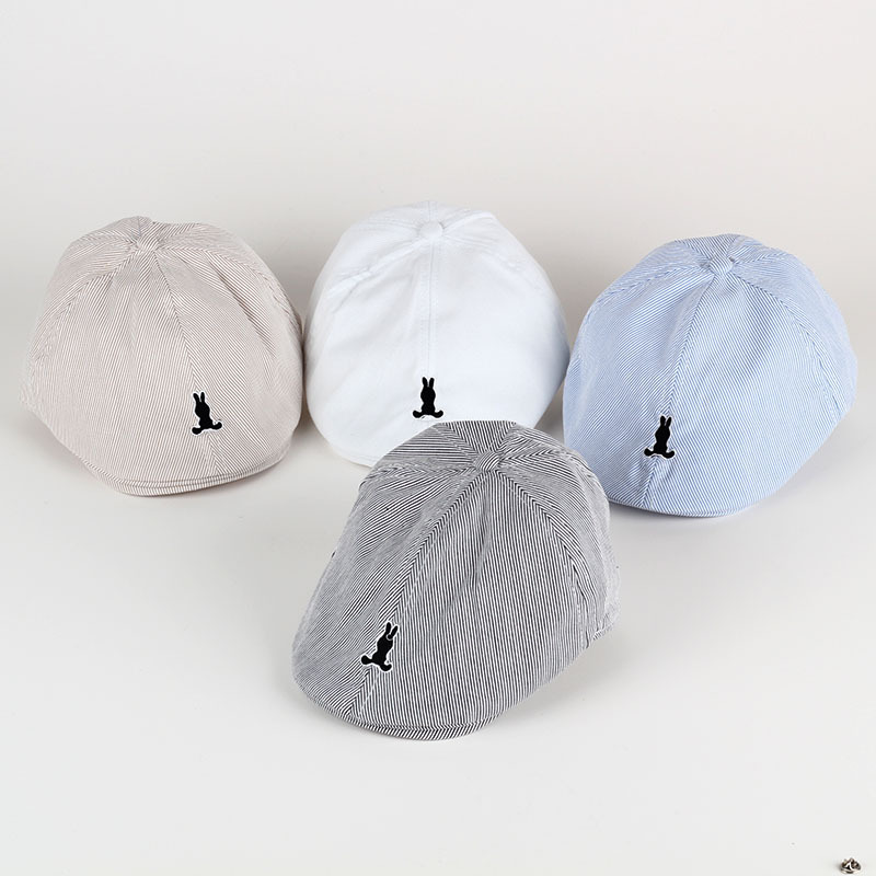 New Spring Summer Autumn Solid Color Stripe Embroidery Children Beret  Painter s Hat Baby Hat Simple Baby Beret Baby Boy Girl Hat 9f0755241c23