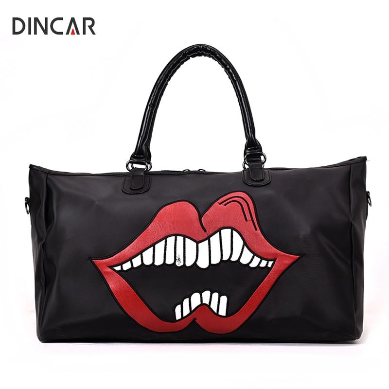 DINCAR Red Lips Women Travel Bag Black Large Capacity Waterproof Travel Duffle Bag Portable Pu Leather Womens Tote Bag Handbags