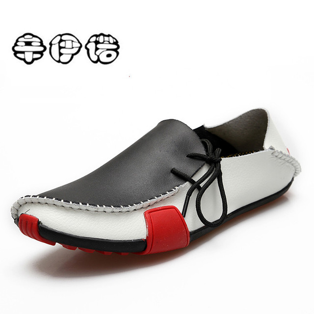 Men Casual Flats Shoes 2018 Spring Models Soft Leather Shoes Driving Shoes Slip On Loafer Shoes