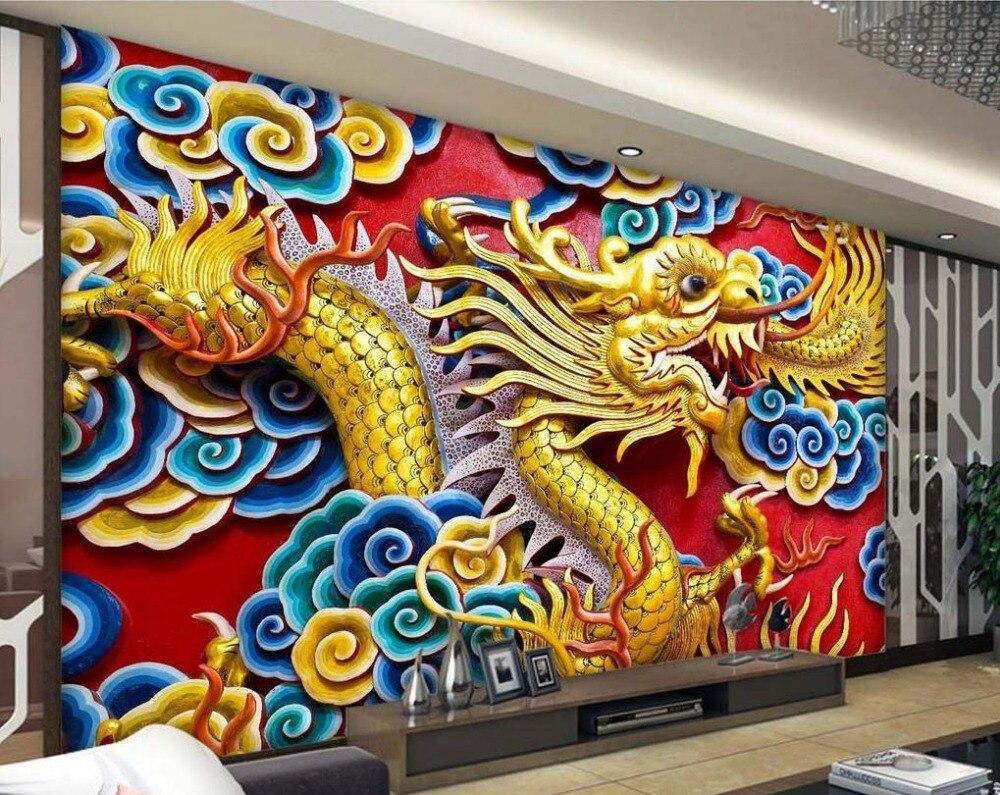 1144 58 De Réductionpapier Peint Photo Personnalisé 3d Stéréoscopique Relief Dragon Tv Fond Décran Papier Peint Mural 3d Papier Peint Parded