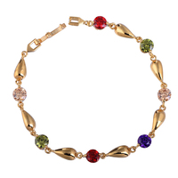 Women Hand Chain  Gold Plating Exquisite Zircon Link Bracelet Colorful KQS