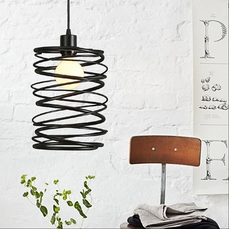 Vintage Loft Black Metal Spiral Shade Pendant Light Cage Kitchen Island Lamp Motent Industrial Vintage Hanging Lighting Fixtures