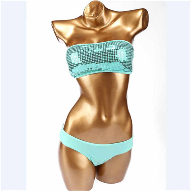 Sexy bandeau badmode bikini set top & bottom beach swim push up vintage mermaid lovertjes badpak vrouwen maillot de bain femme