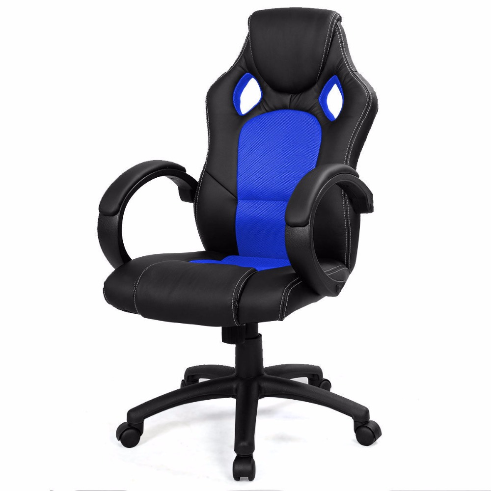High back race car car style bucket seat office for Blue office chair