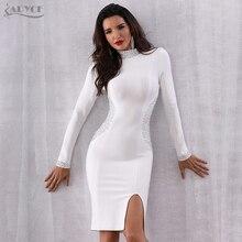 Женское облегающее платье Adyce, зимнее белое клубное платье миди с длинным рукавом и стразами, вечернее праздничное платье знаменитости