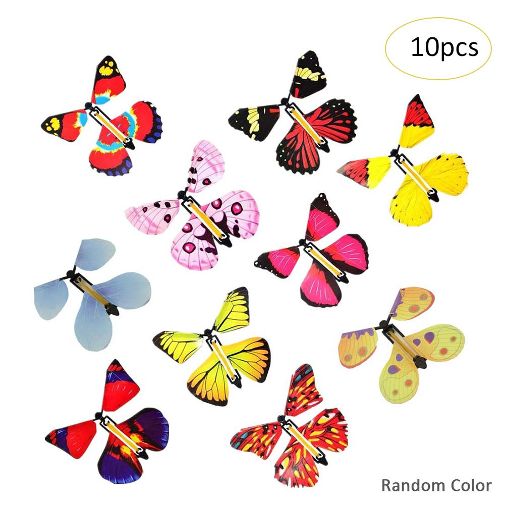 10PC/1PC Magic Fairy Flying In The Book Butterfly Rubber Band Powered Wind Up Butterfly Toy Great Surprise Birthday Gift
