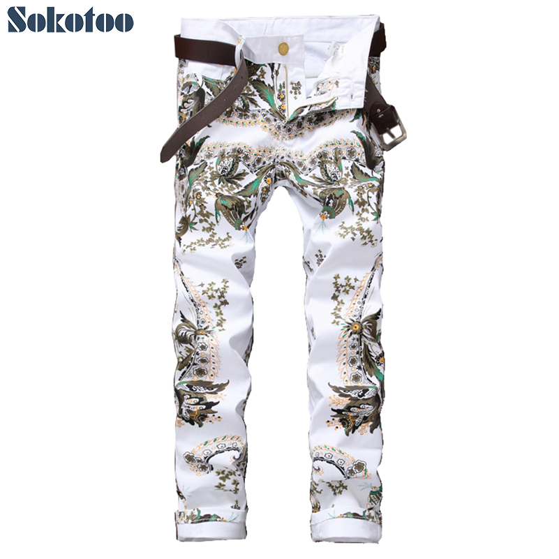 Sokotoo Men's fashion flower colored 3D printed jeans White slim skinny stretch denim pants