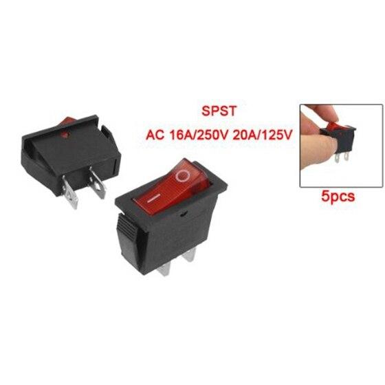 New 5 Pcs 2 Pin SPST Red Neon Light On/Off Rocker Switch AC 16A/250V 20A/125V