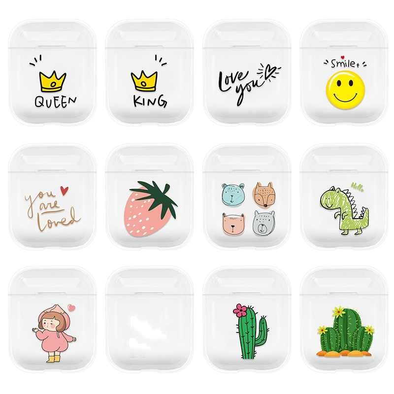 Cases For Airpods Cute Lovely Heart Painted Transparent Hard PC Cases For AirPods Cases Protective Cover Wireless Earphone Case
