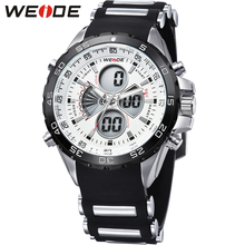 купить Fashion Brand WEIDE Military Sport Watch Men Electronic Quartz White LED Silicone Band Waterproof Man Wristwatch Hombre Horlogio онлайн