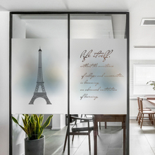 Frosted glass stickers Paris Tower English Bathrooms balcony door windows electrostatic transparent opaque film