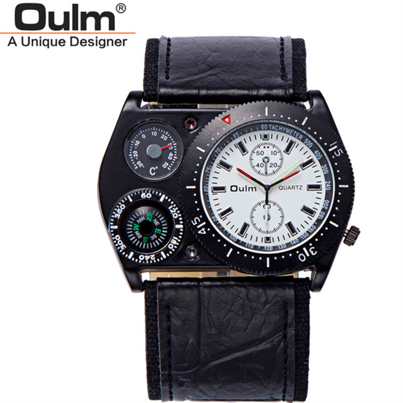 Oulm New Luxury Brand Watches Mens Leather Wide Strap Analog Quartz Wrist Watch Compass Thermometer Decoration Male Army Clock
