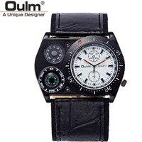 Oulm Nueva Marca Relojes de Lujo Para Hombre Ancho De Cuero pulsera de Cuarzo Analógico Correa Reloj Termómetro Brújula Decoración Masculina Ejército Reloj