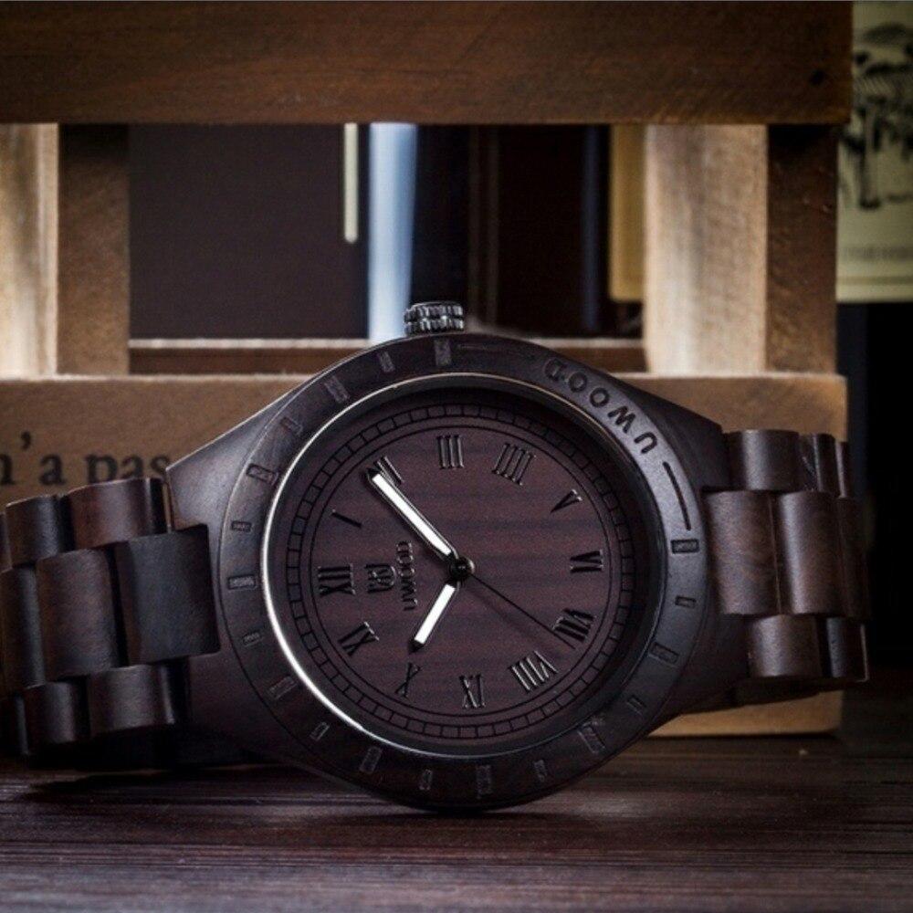 Wood Wristwatch Black Sandal Wood Analog Watch Japan MIYOTA Quartz Casual Wooden Watches Brand UWOOD Dress Wristwatch For Unisex цена